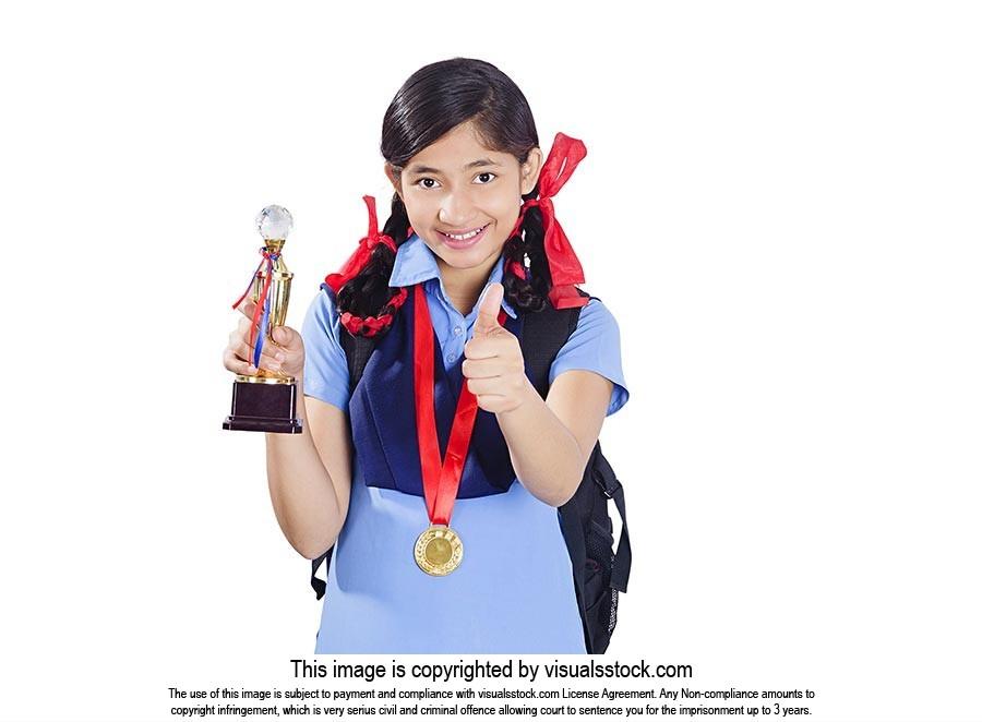 Indian School Girl Winning Trophy Medal Thumbsup