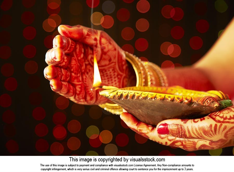 Traditional Woman Diwali Festival Diya Praying