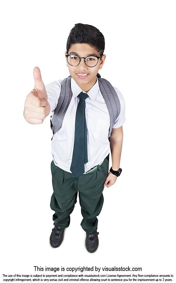 Indian High School Boy Student Thumbsup Success