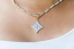Close up Woman Wearing Diamond Necklace
