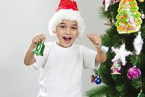 Kid Boy Festival Christmas tree Bell Cheering Fun
