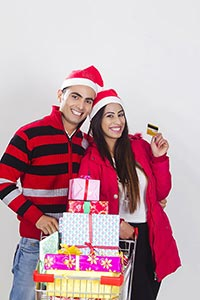 Couple christmas Credit card shopping gift cart