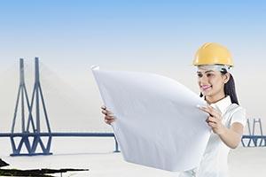 Architect Woman Reading Blueprint Bridge