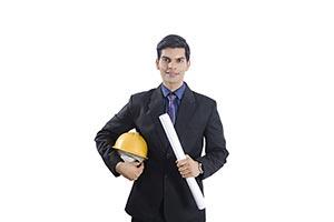 Engineer Man Holding Blueprints