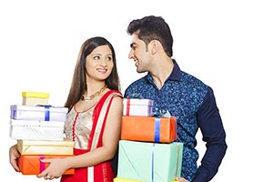 Indian Couple Stack Gift Diwali Celebrating