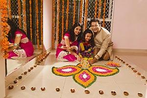 Indian Family Celebrating Diwali