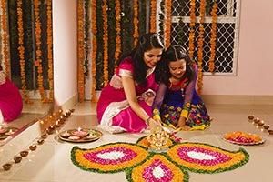 Mother Daughter Decorating Rangoli Diwali