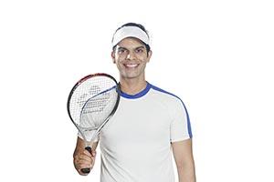 Sports Man Tennis Player Holding Racket