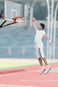Sports Man Jumping Basketball Basketball court