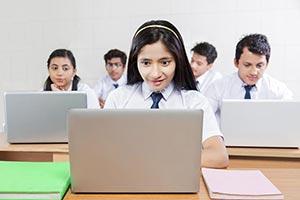 School Students Laptop Studying