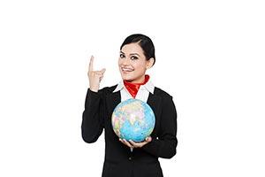 Air Hostess Pointing Globe