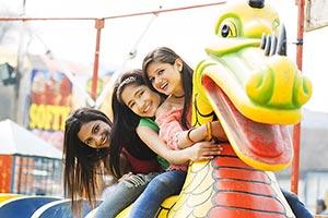 Young Womens Friends Fun Fair Rides Surajkund