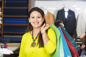Indian Woman Customer Showroom Shopping Bags Smili